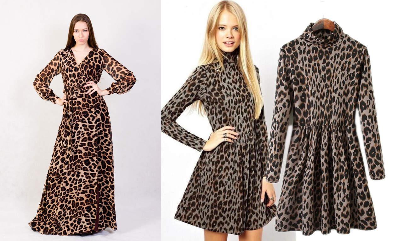Леопардовое платье с рукавом