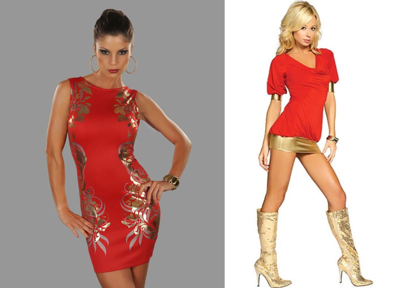 Красное платье с золотым принтом