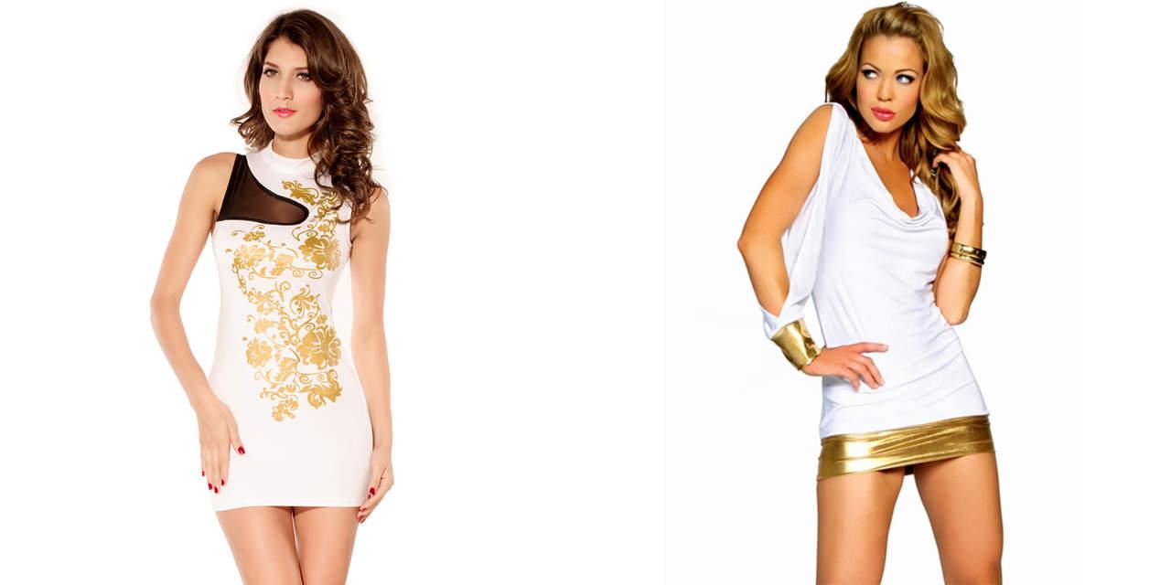 Белое платье с золотым принтом
