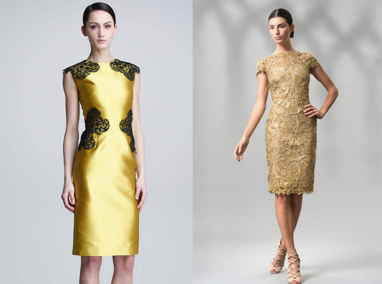 Платье-футляр золотое