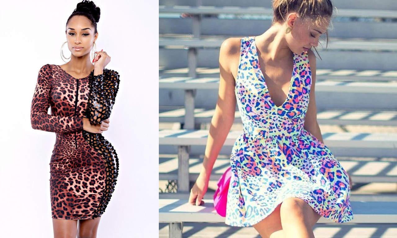 Цветное леопардовое платье