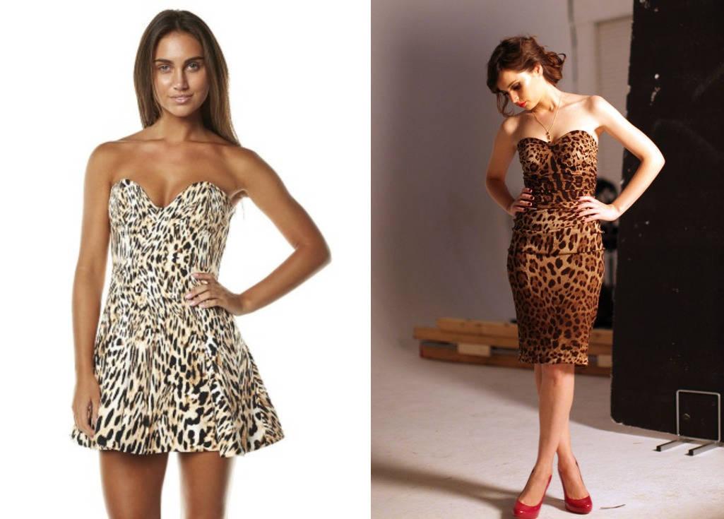 Леопардовое платье без лямок