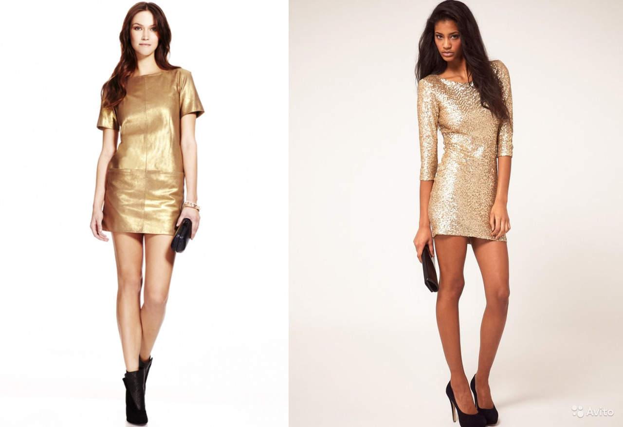 Золотое платье мини (короткое)