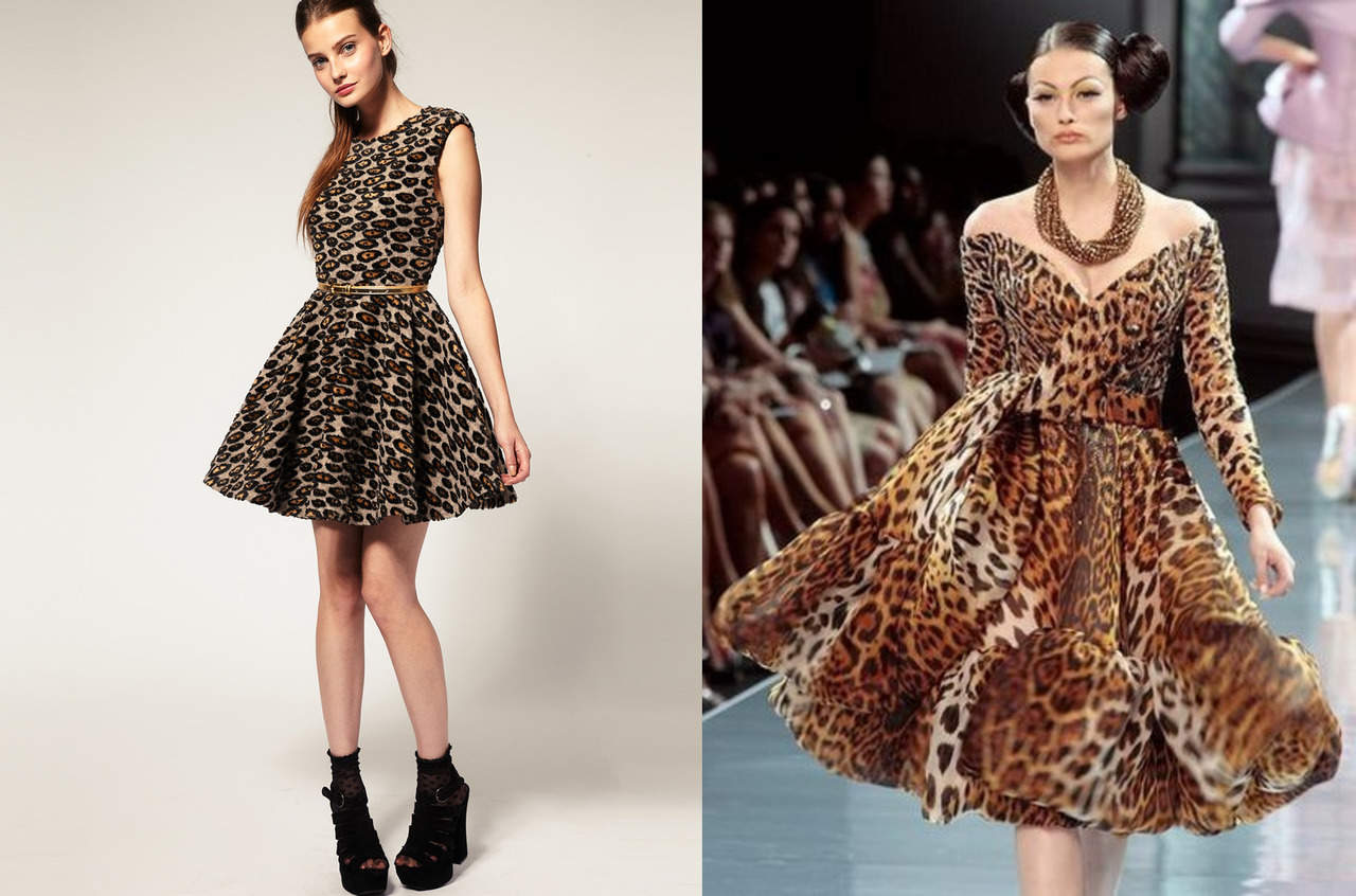 Леопардовое платье с пышной юбкой