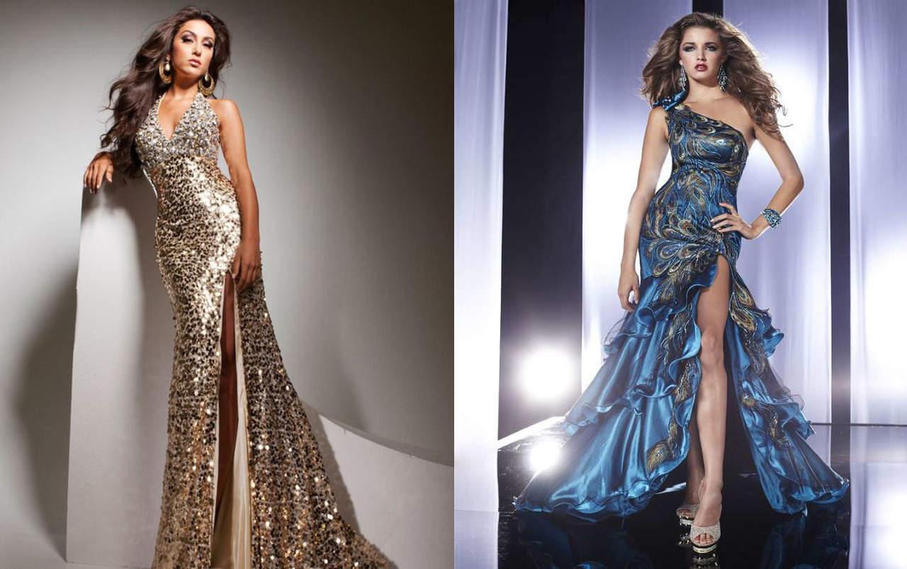 Блестящее платье с разрезом