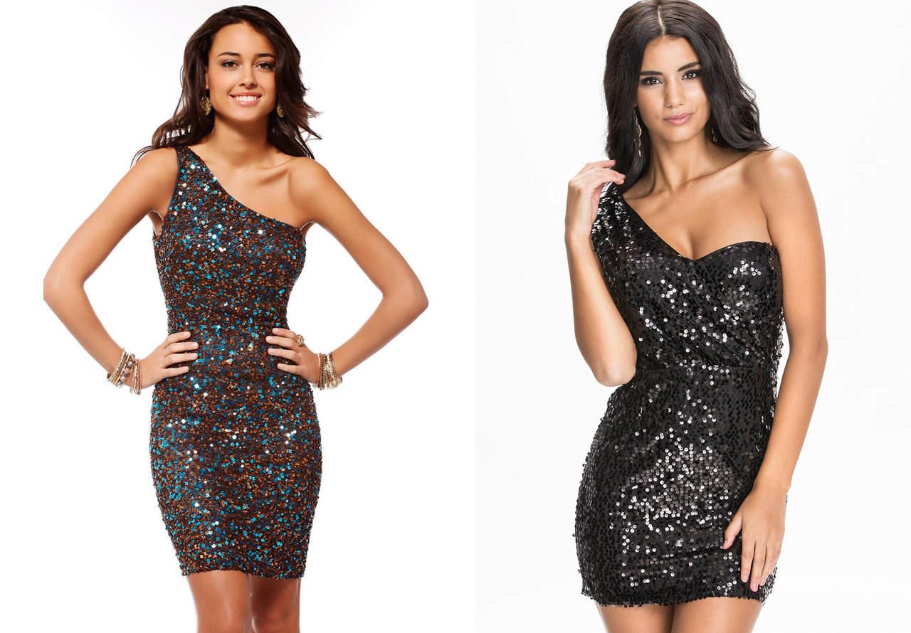Блестящее платье на одно плечо