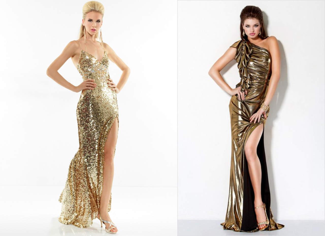 Золотое платье в пол