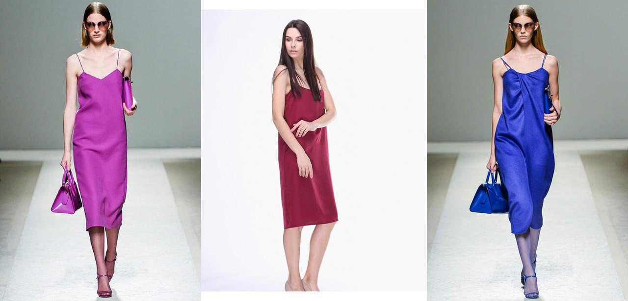 Атласное платье-комбинация в бельевом стиле