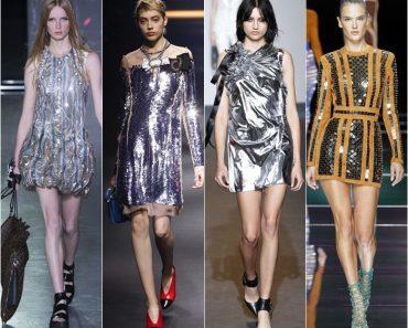 Блестящее платье с пайетками: длинное в пол, короткое, с рукавом, вечернее, фото