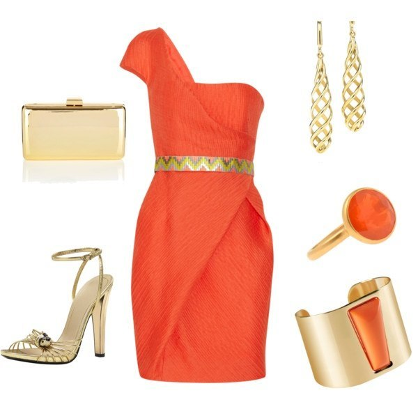 Золотое платье с красным