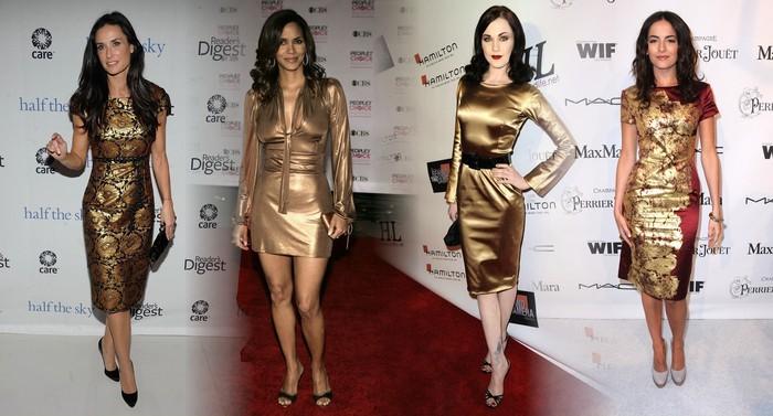 Золотое платье и обувь