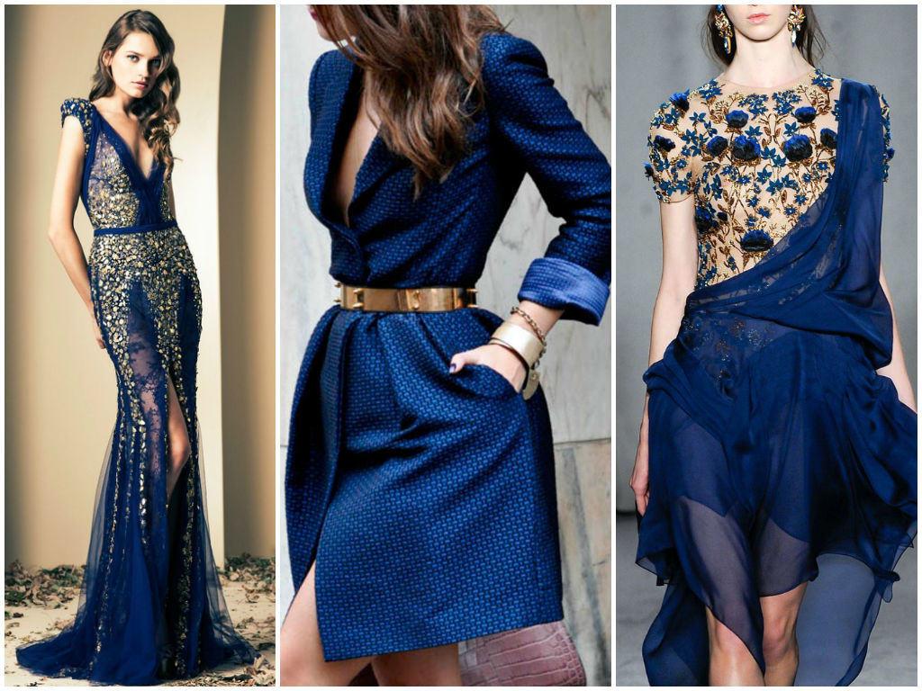 Синее платье с золотым принтом