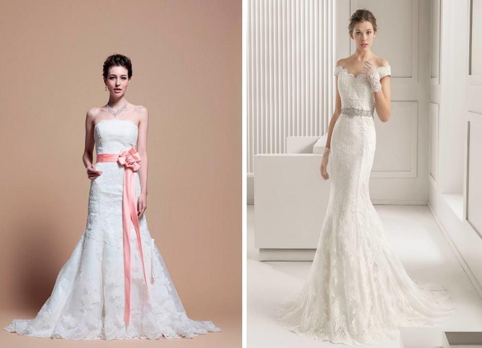 Свадебное платье годе с поясом