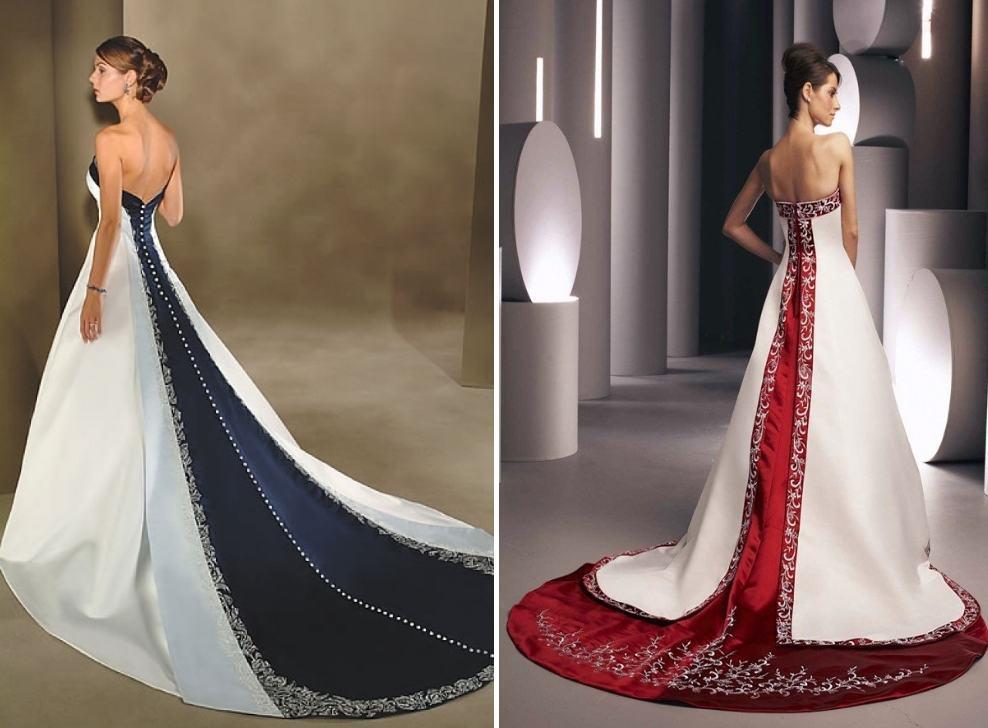Свадебное платье годе с цветным шлейфом