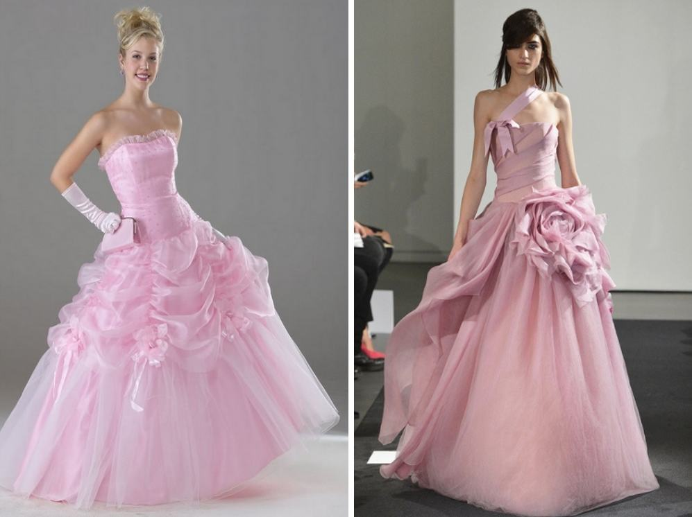 Розовое свадебное платье. Цвета свадебных платьев