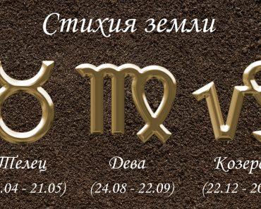 Земные знаки зодиака - Телец, Дева, Козерог и их характеристика. Гороскоп стихии земли