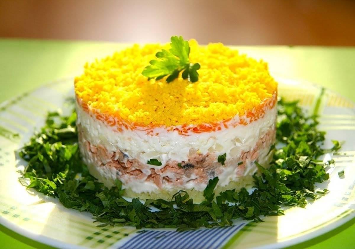 рецепт салата мимоза с консервой горбушей