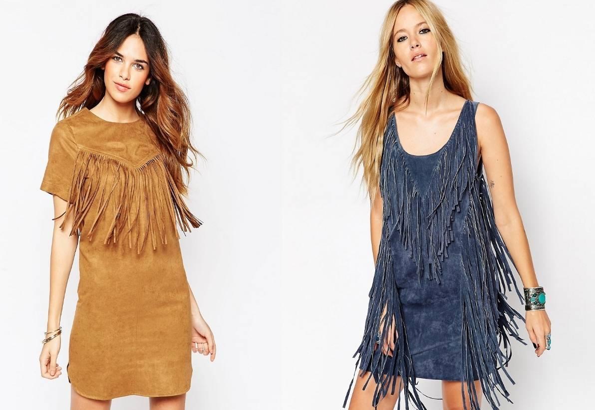Замшевое платье с бахромой