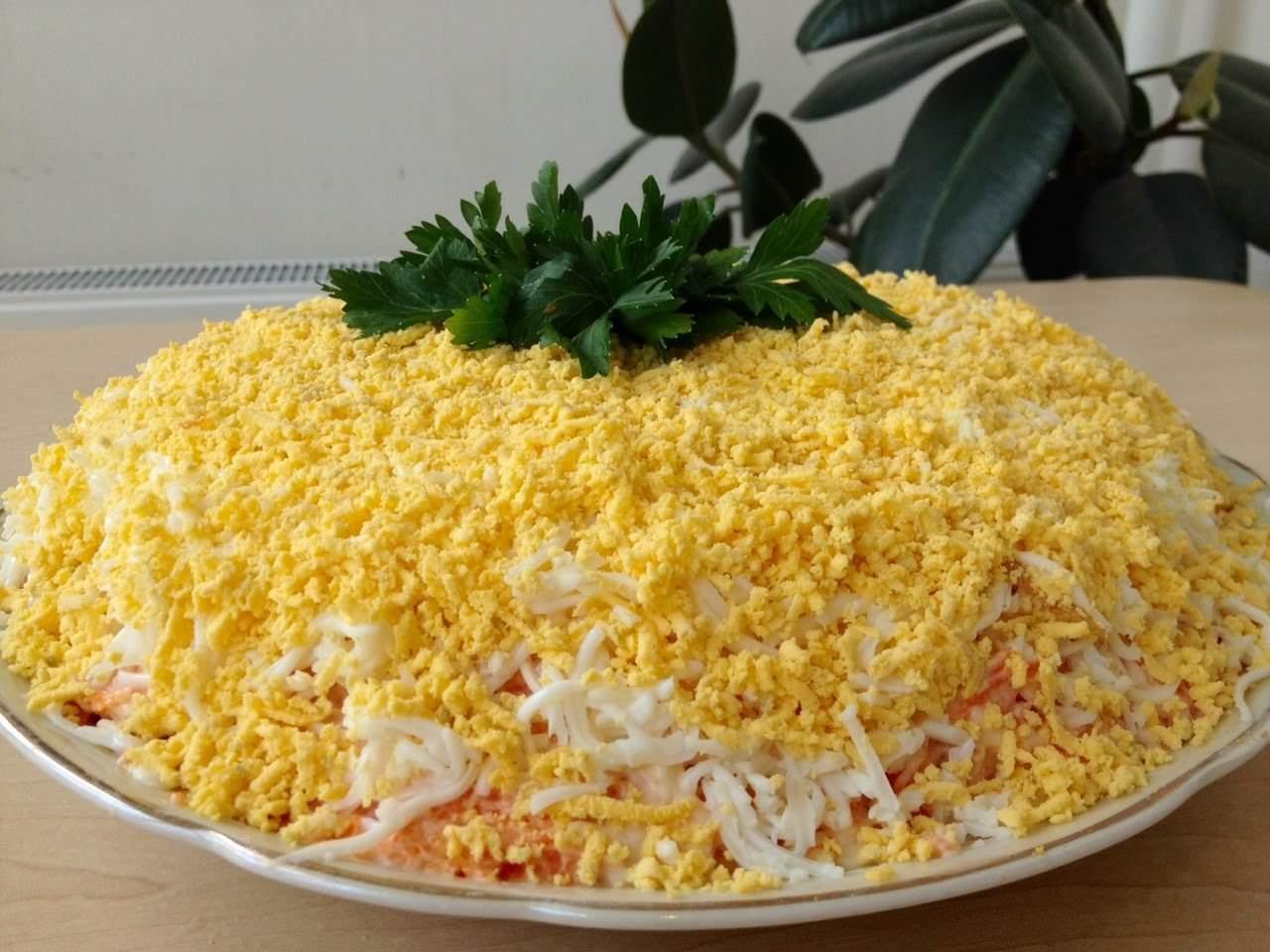 салат мимоза рецепт с консервой и рисом фото