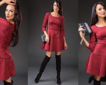 Замшевое платье синее, красное, черное, бежевое - фото. Как его стирать