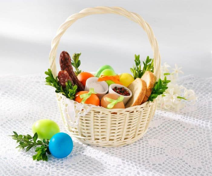 Пасхальные яйца в корзинке