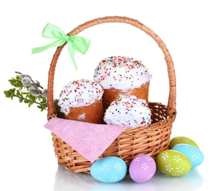 Пасхальные яйца в корзинке - подарок на Пасху