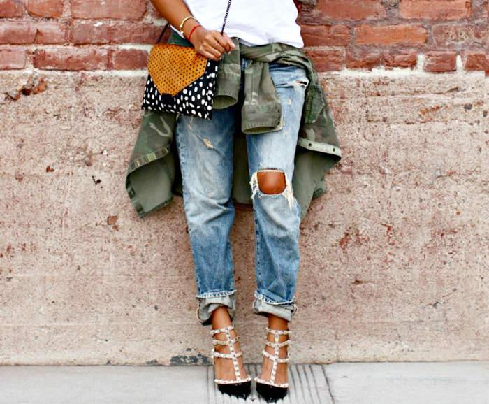 Мятые подвороты на джинсах
