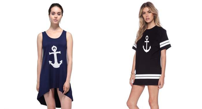 Морское платье в полоску, платье в морском стиле. Платье Якорь