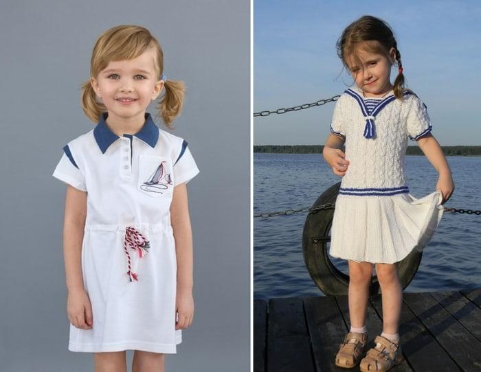 Платье для девочки в морском стиле