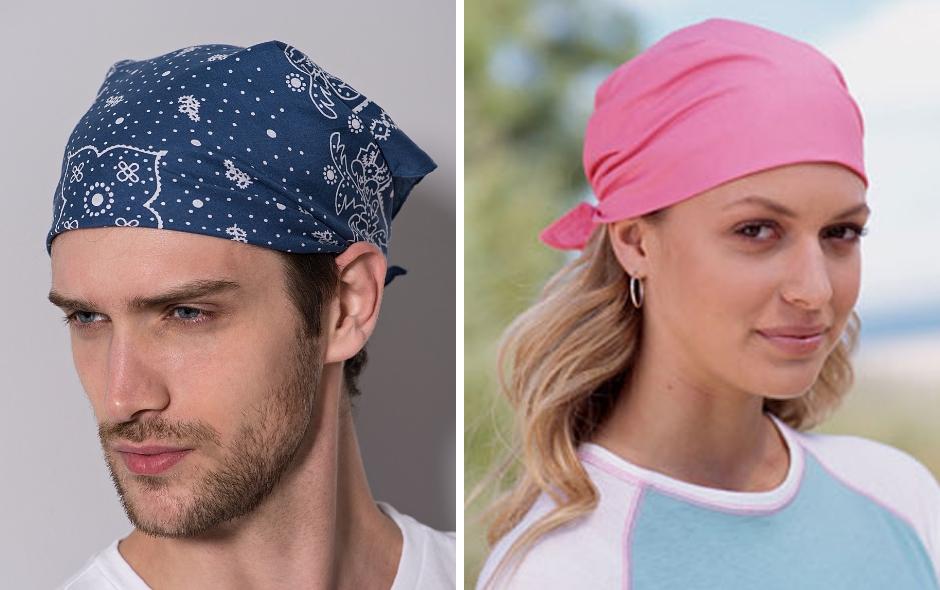 Бандана мужская и женская на голове