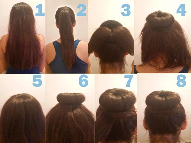 Как сделать бублик из волос с резинкой