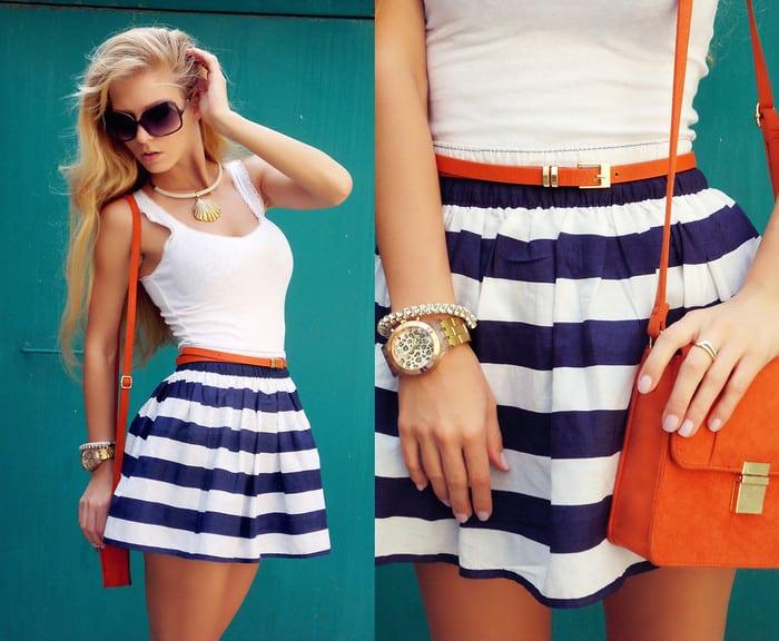 Морское платье в полоску, платье в морском стиле. Аксессуары
