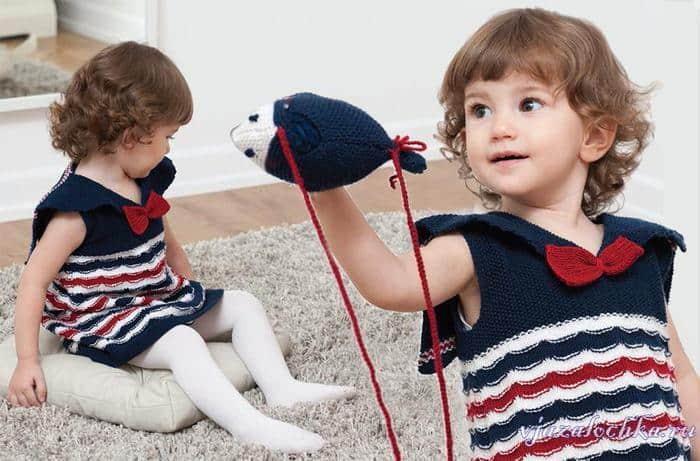 Платье для девочки в морском стиле. Морское платье