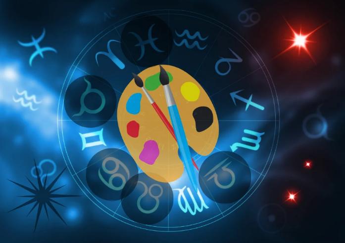 Знаки зодиака, кисти и краски