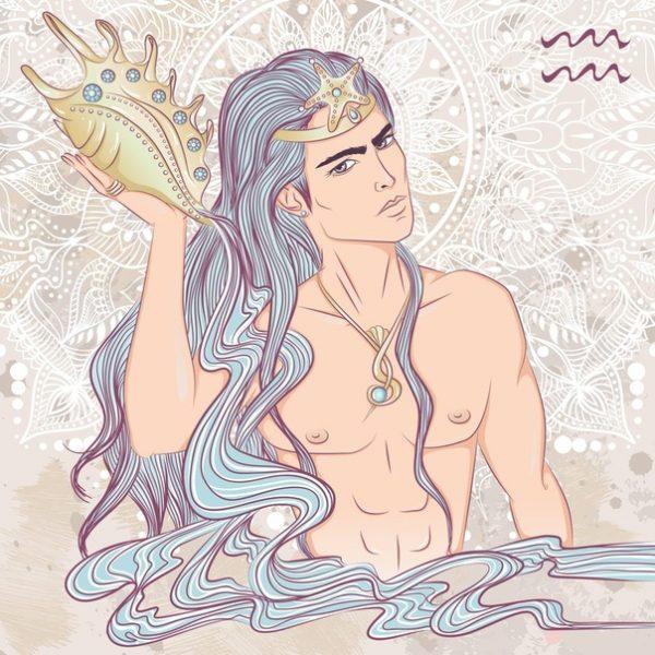 Парень Водолей - рисунок в пастельных тонах