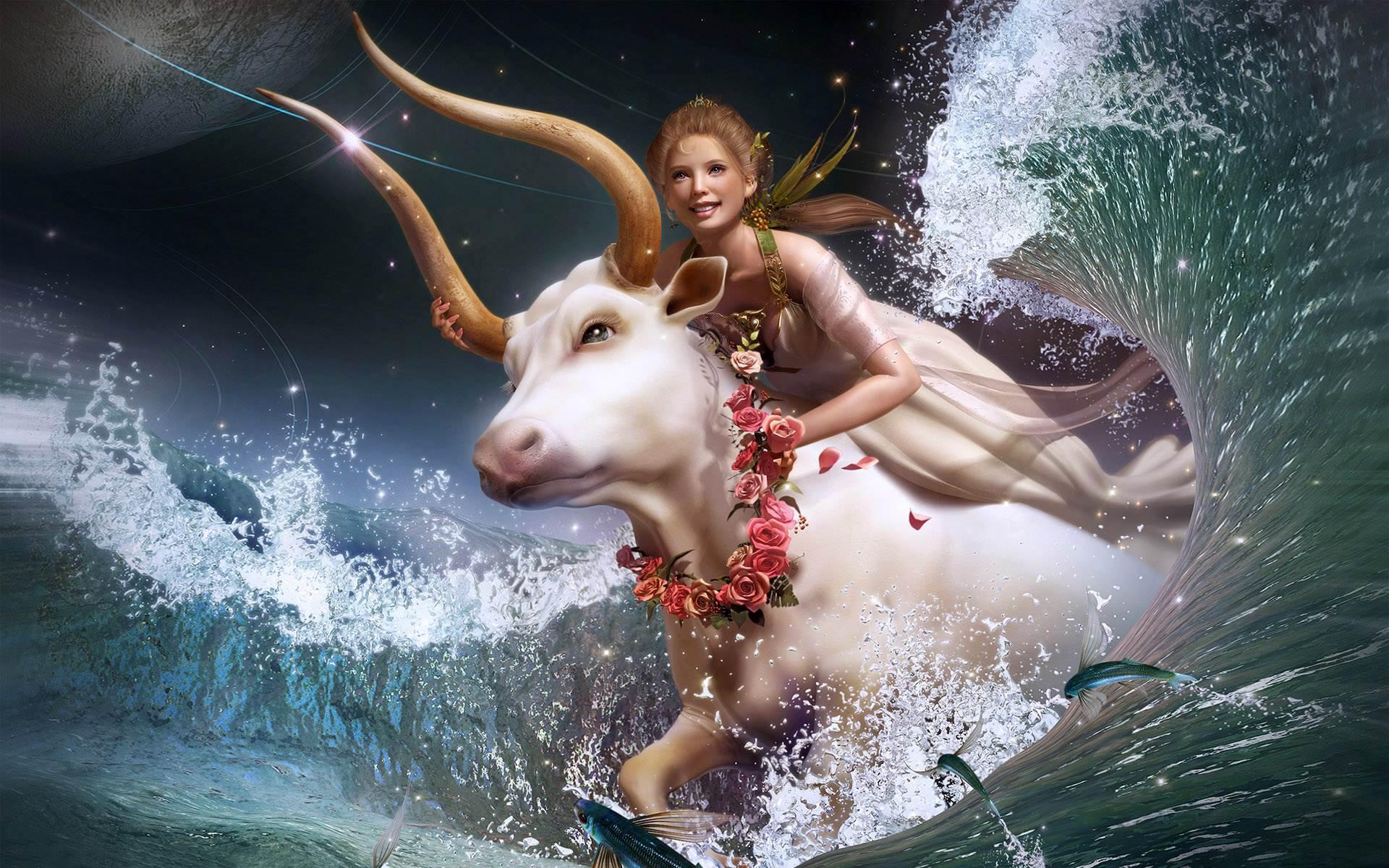 Девушка в платье верхом на быке