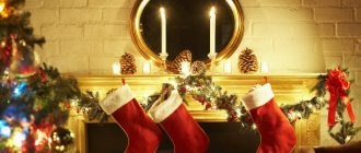 Рождество, чулки у камина