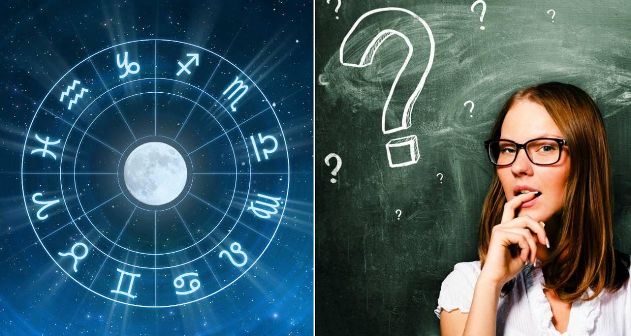 Знаки зодиака, девушка и вопросительный знак