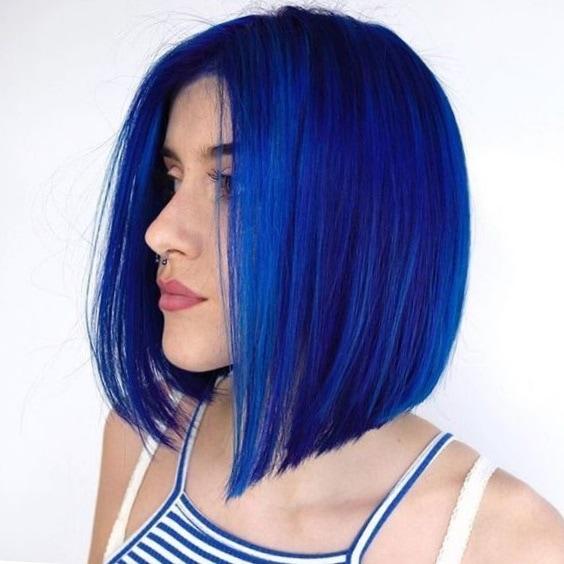 Синие волосы каре