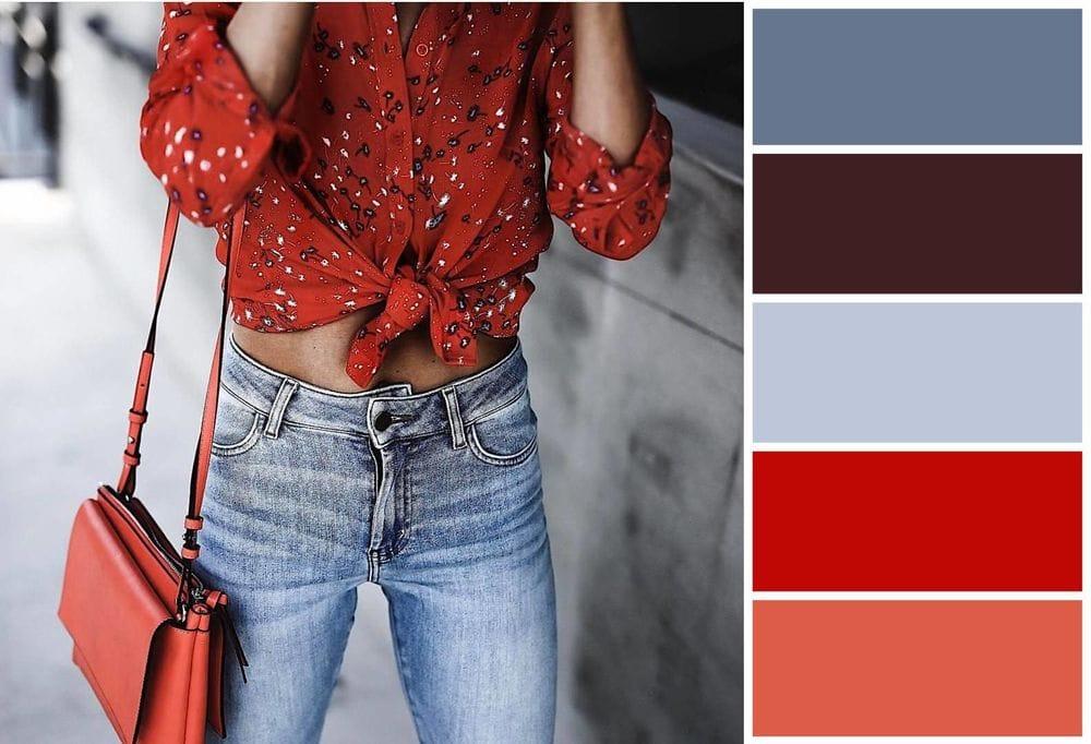 сочетание красного цвета с другими цветами