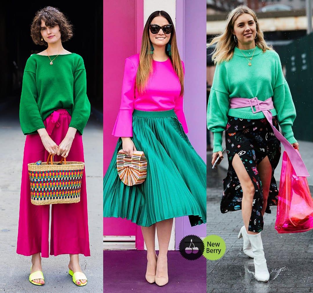 розовый с зеленым в одежде