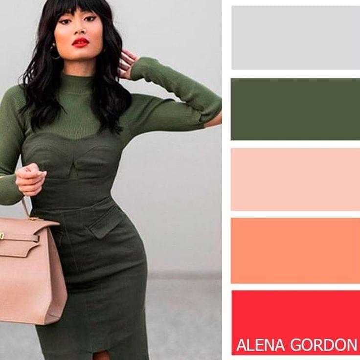 Темно зеленый в сочетании с другими цветам