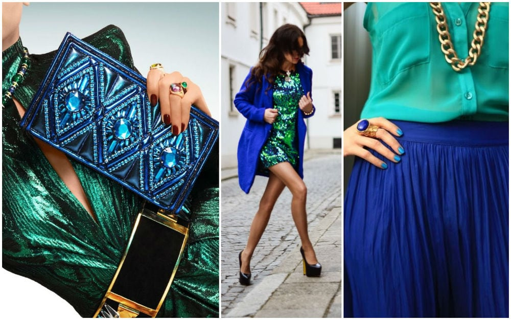 сине-зеленый в сочетании с другими цветам