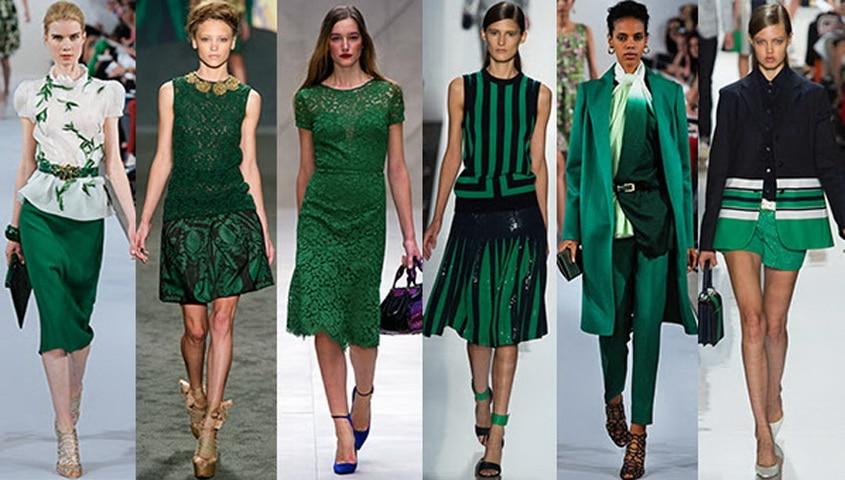 Изумрудно зеленый в сочетании с другими цветам