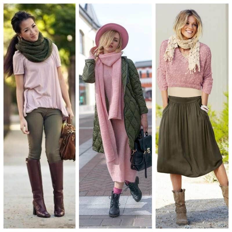 Сочетание цвета хаки с другими цветами в одежде